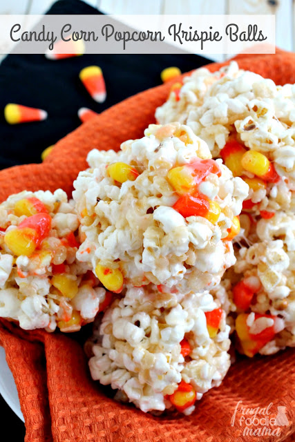 These sweet & salty Candy Corn Popcorn Krispie Balls are the perfect easy to make treat for a fall or Halloween celebration.