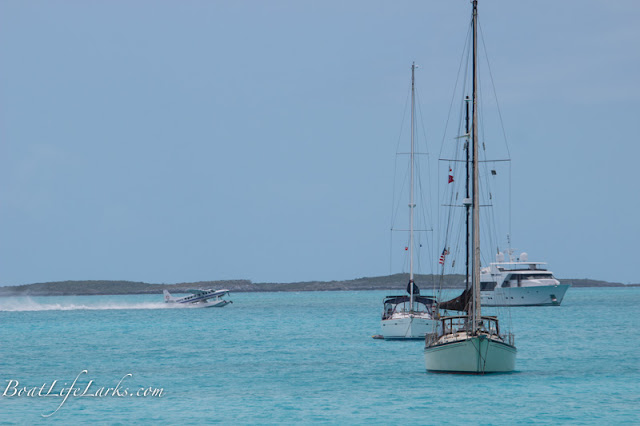 Seaplane in boat anchorage, Big Majors Spot, Bahamas