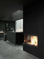 cocina con estufa negra