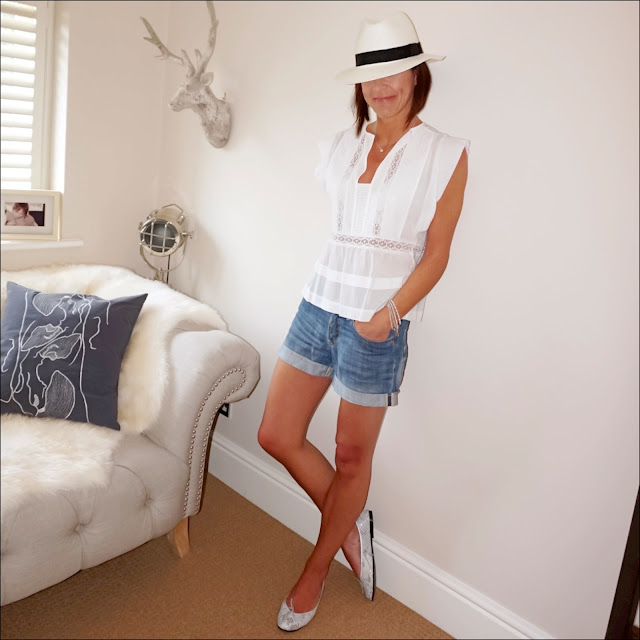 My Midlife Fashion, Isabel Marant Etoile broderie top, hm denim boyfriend shorts, marks and spencer handwoven panama hat, french sole metallic snake print ballet pumps