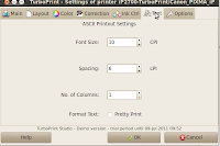 ASCII Printout settings text