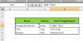 rumus cara menggabungkan data di ms excel