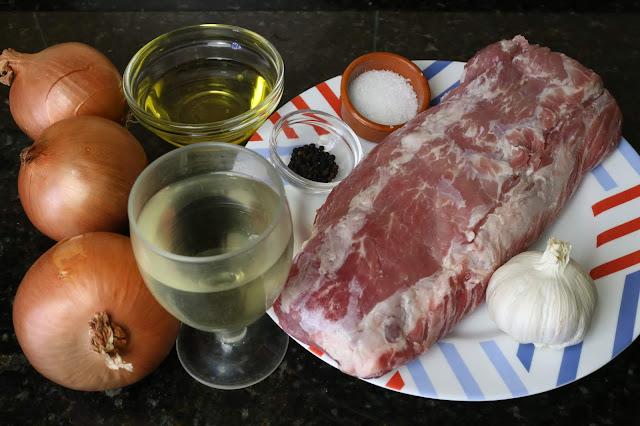 Ingredientes para lomo de cerdo encebollado