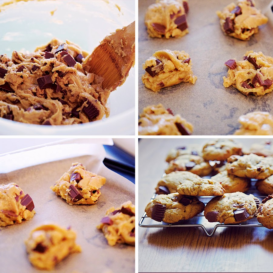 Montage of photos showing the process of making cookies.