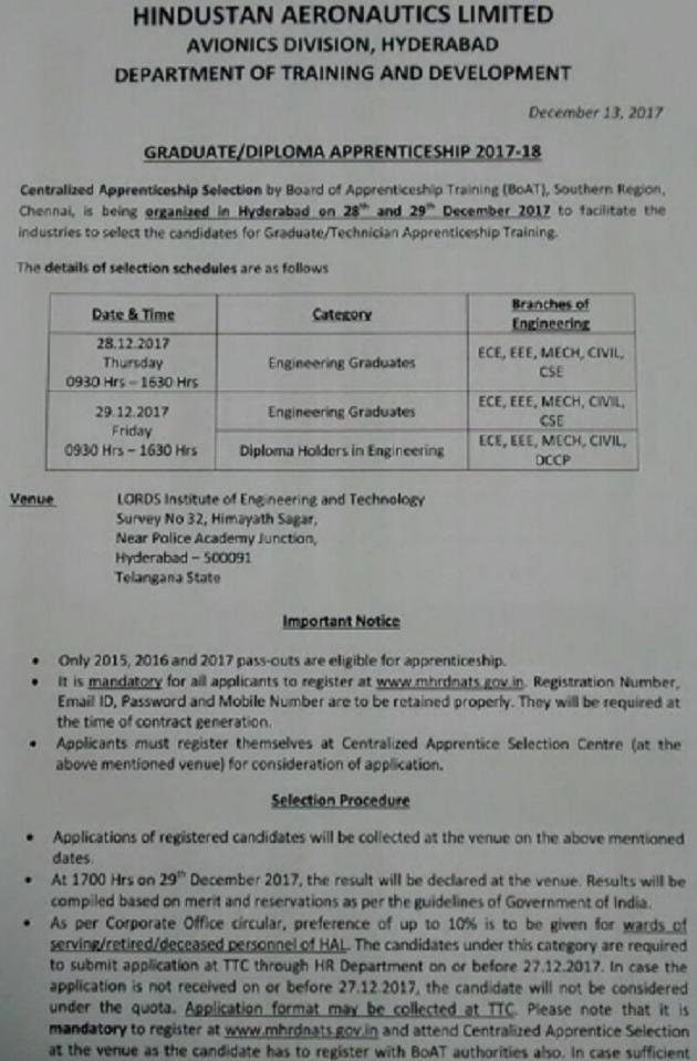 diploma ece govt jobs in hyderabad