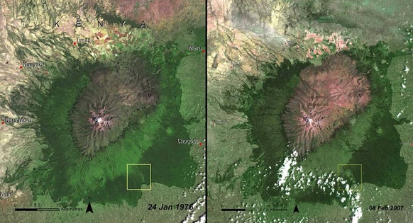 You Still Think Climate Change Is A Hoax These 20 Before-And-After Photos Will Leave You Speechless! - DEFORESTATION OF MOUNT KENYA FOREST, KENYA, 1976 AND 2007