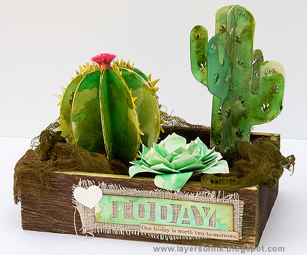 Layers of ink - Watercolor Cacti in a Box Tutorial by Anna-Karin with Succulent Serenity by Sizzix and Lynda Kanase