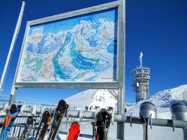 Long Winter Weekend Lucerne Switzerland - Frozen map on top of Mt. Titlis