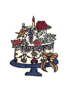 花のバースデーケーキ切り絵
