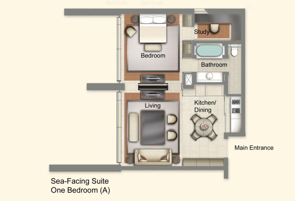 The Club Residences 1 Bedroom Suites - Floor Plan