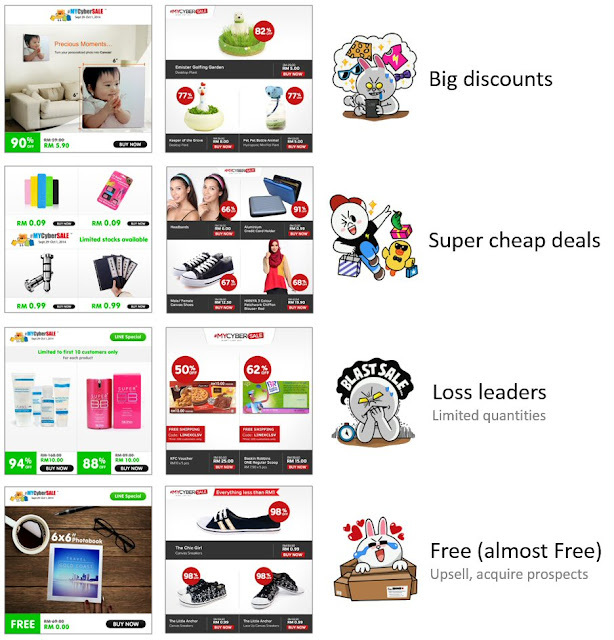 Examples of attractive deals for LINE blast