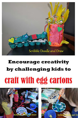 encourage kids to be creative and make egg carton crafts dinosaur and parrot