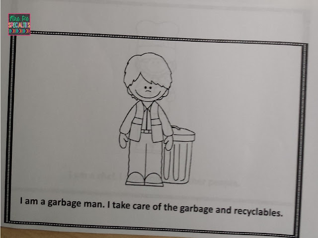 Photo of a page in the student version of the community helper book with the garbage man and text.