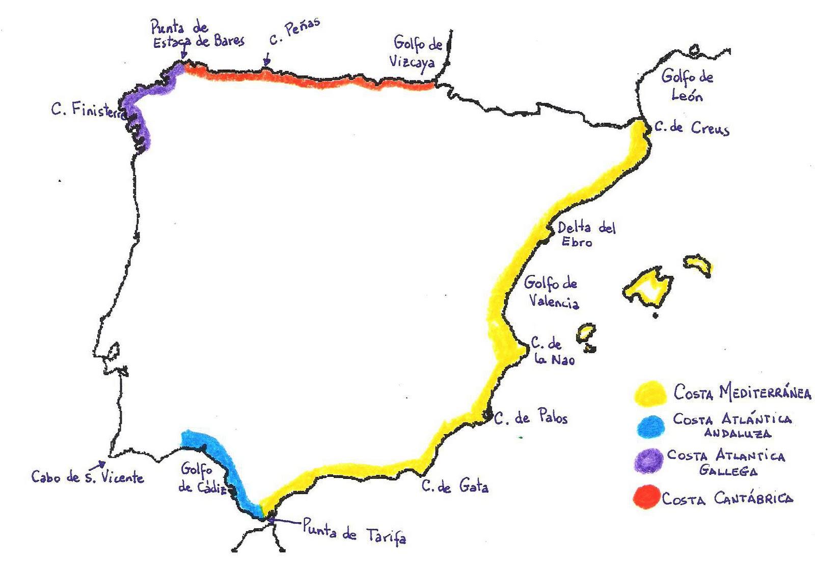Costas De España Mapa.El Blog De 6 º B Juegos Interactivos Las Costas De Espana