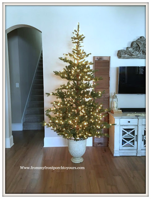 Christmas Tree-Cottage Style-French Country-Christmas Tree In Urn-From My Front Porch To Yours