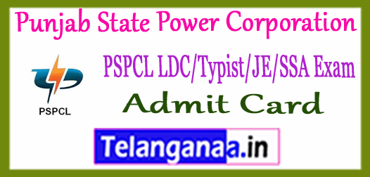 PSPCL Punjab State Power Corporation Ltd Admit Card 2018