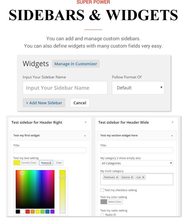 Sneeit Framework Plugin - Back-end para temas WordPress - Barras laterais e widgets