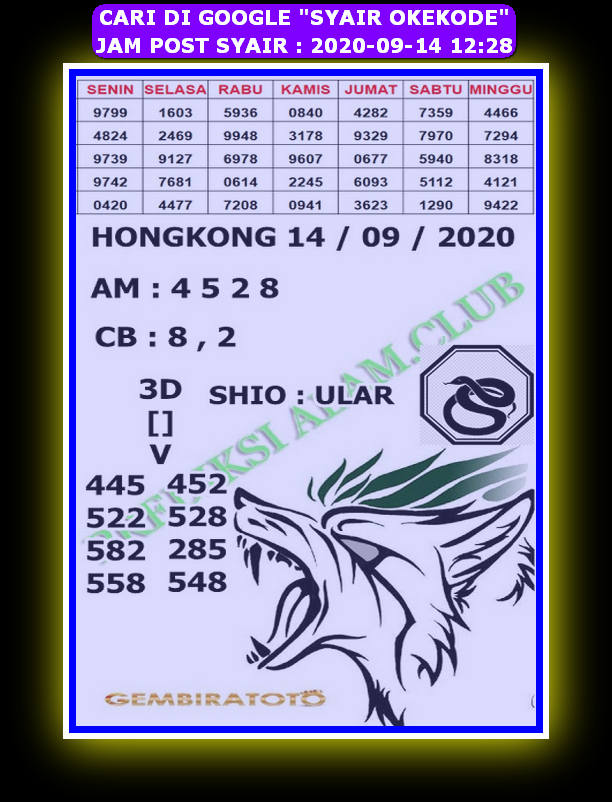 Kode syair Hongkong Senin 14 September 2020 297