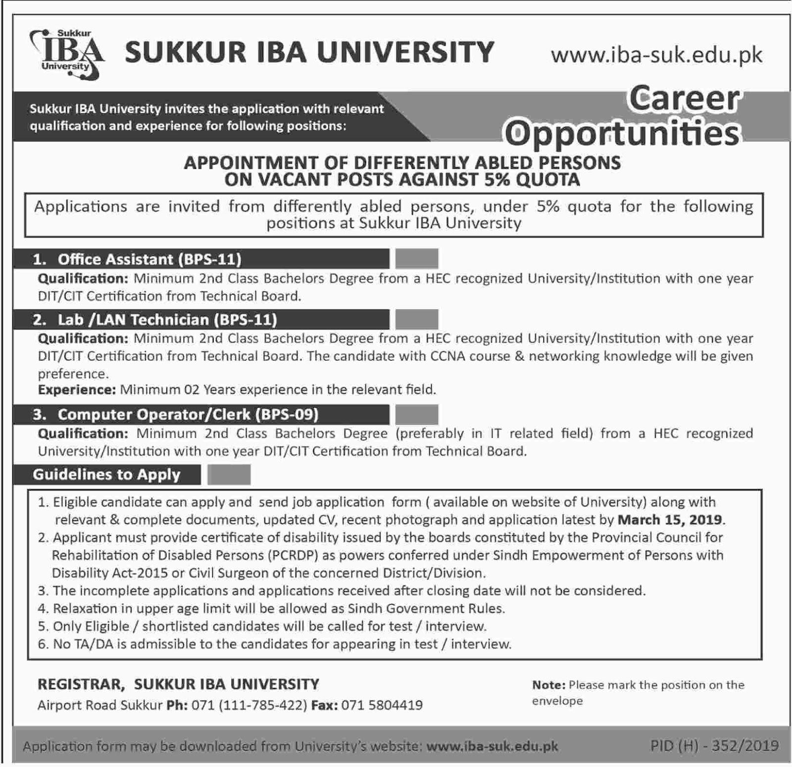 Sukkur IBA University Latest Jobs 20 Feb 2019