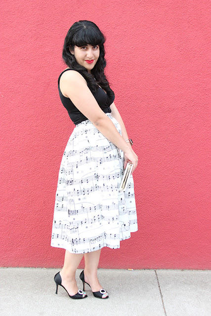 Chicwish Black and White Music Note Midi Skirt Outfit