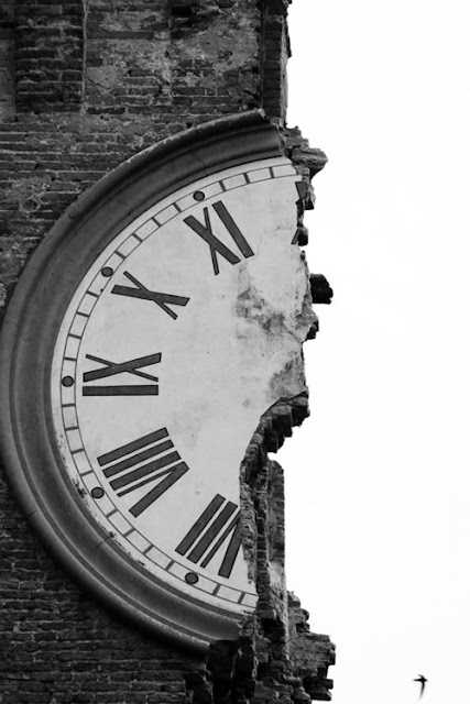 The clock tower in Finale Emilia (near Ferrara) after an earthquake in the region of Emilia Romagna, Northern Italy, on May 20, 2012