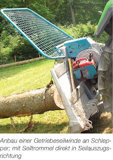 Anbau einer Getriebeseilwinde an Schlepper; mit Seiltrommel direkt in Seilauszugsrichtung