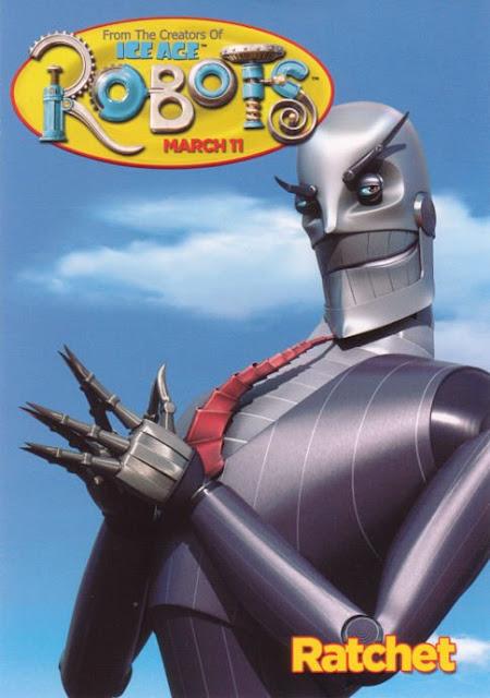 Imagen en 3D del cartel del malvado protagonista Ratcher de la película Robots