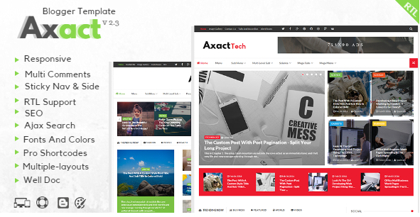 Free Download - Axact . Responsive Magazine Blogger Theme
