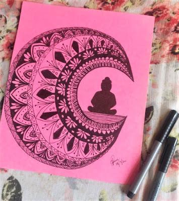 Crescent Buddha Mandala Art