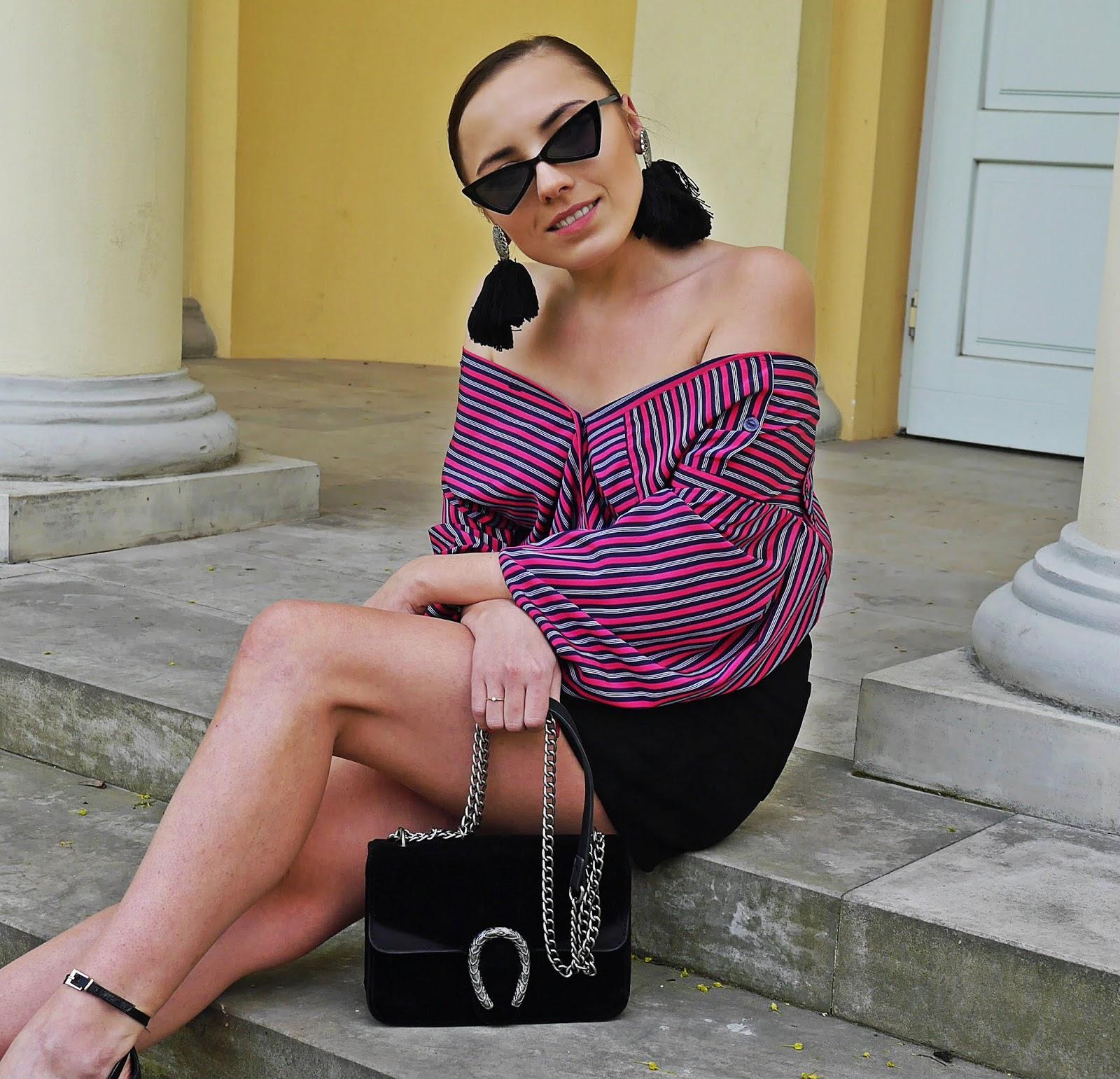 sandałki atmosphere asymetryczna spódnica trójkątne okulary torebka renee karyn blog modowy