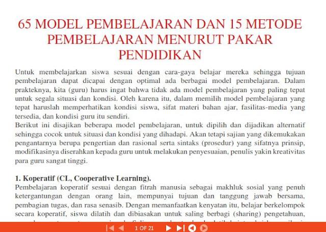 E-BOOK Model Pembelajaran di Sekolah