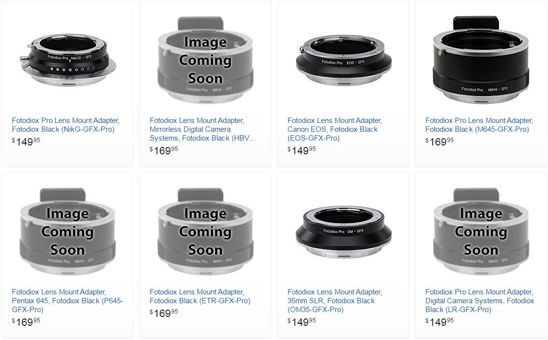 Адаптеры для камеры Fujifilm GFX 50s для установки сторонней оптики