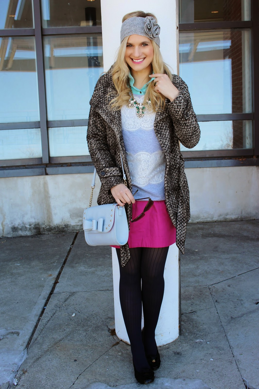 bijuleni - pencil pink skirt with sweater