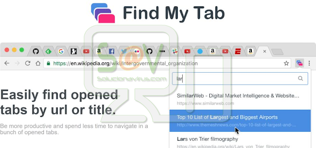 """Find My Tab"" (Falsa extensión de Chrome)"