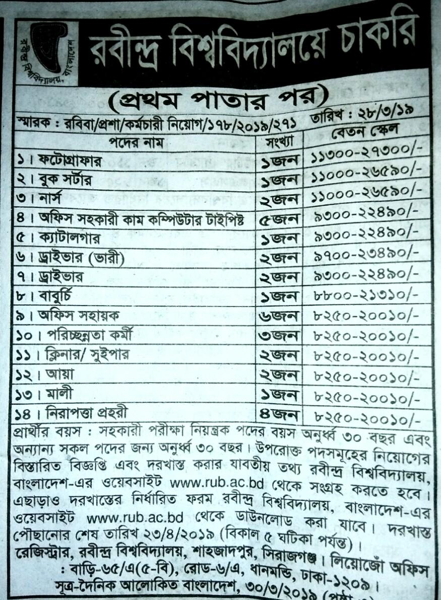 Rabindra University job circular 2019. রবীন্দ্রবিশ্ববিদ্যালয় নিয়োগ বিজ্ঞপ্তি ২০১৯