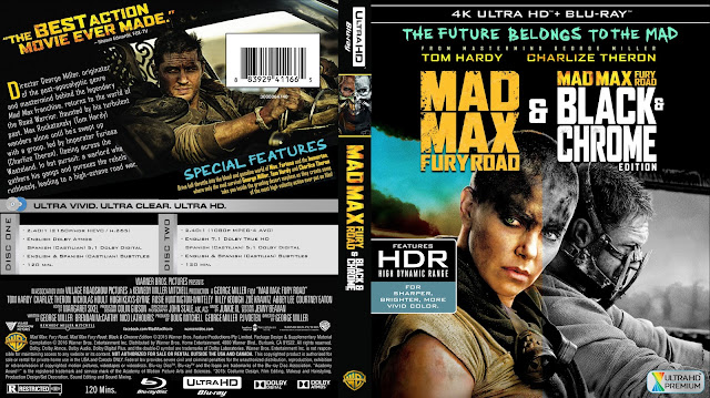 Mad Max Fury Road and Black and Chrome 4k Bluray Cover