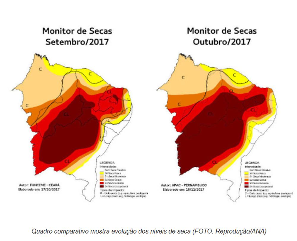 30d970ca2ffe4 No mesmo período do ano passado, a situação era ainda mais grave. O Estado  possuía 100% de sua área com níveis de seca variando entre grave e  excepcional.