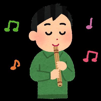 ケーナを吹く人のイラスト(男性)