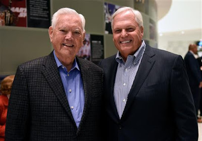 NASCAR Hall of Famer Junior Johnson (left) and NASCAR Hall of Fame inductee Rick Hendrick