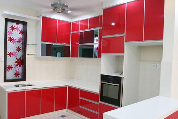 cat dinding dapur warna merah
