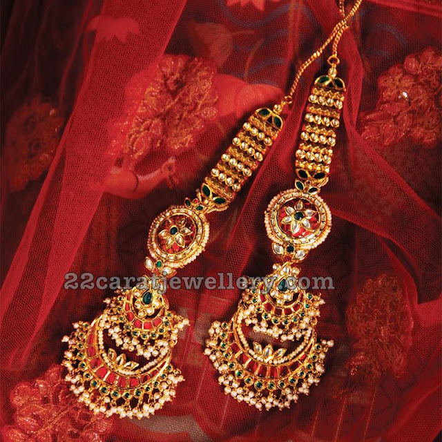 Kundan Earrings with Ear Chains