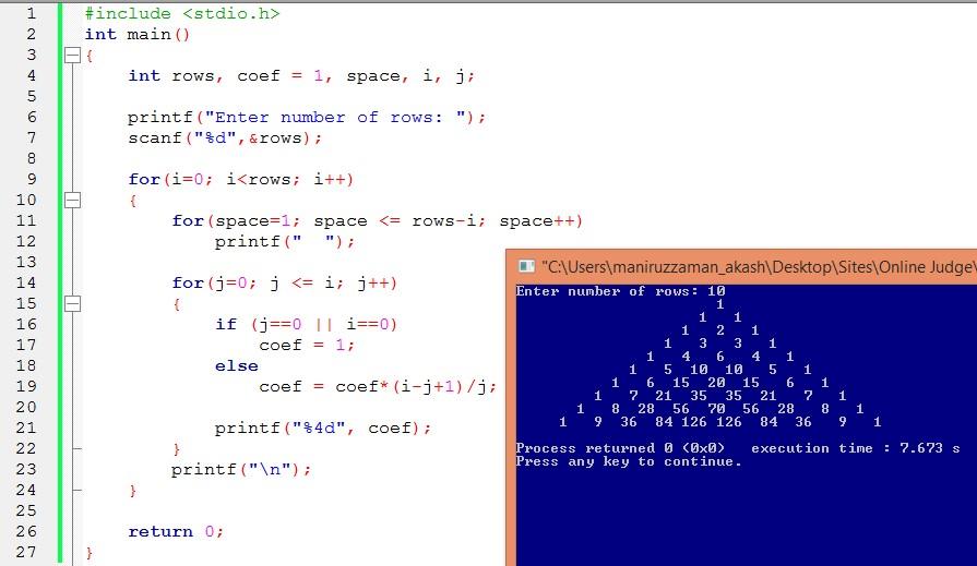 C Program to Print Pascal's triangle