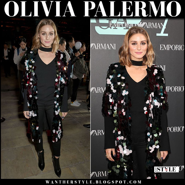 Olivia Palermo in black sequined paillette cardigan and black sweater at Emporio Armani show london fashion week september 17 2017