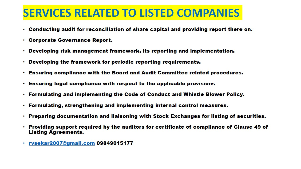 Comments On Indian Company Law List Of Minimum Periodic Compliances