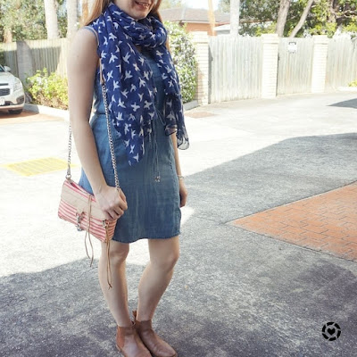 awayfromtheblue instagram | spring outfit formula chambray dress ankle boots bird print scarf
