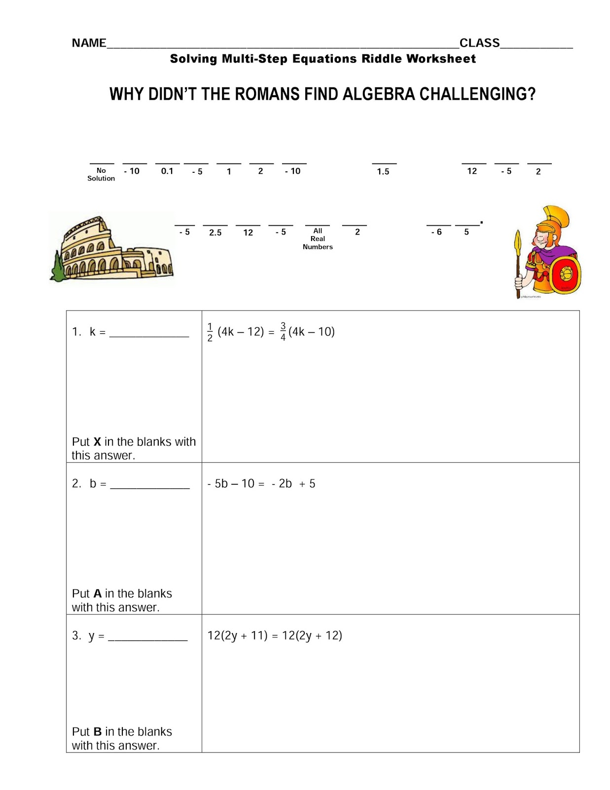 Solving Two Step Equations Puzzle Worksheet
