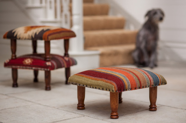 Ooty Stripe Wool Kilim Footstool