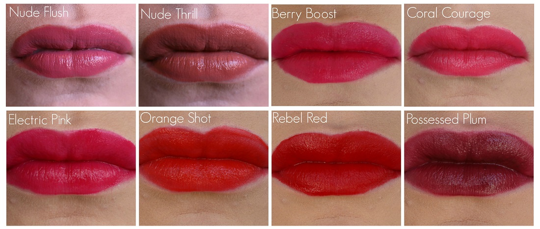 Maybelline Color Sensational Vivid Matte Liquid Lip Color Swatches on the lips Nude Flush, Nude Thrill, Coral Courage, Electric Pink, Berry Boost, Orange Shot, Rebel Red and Possessed Plum
