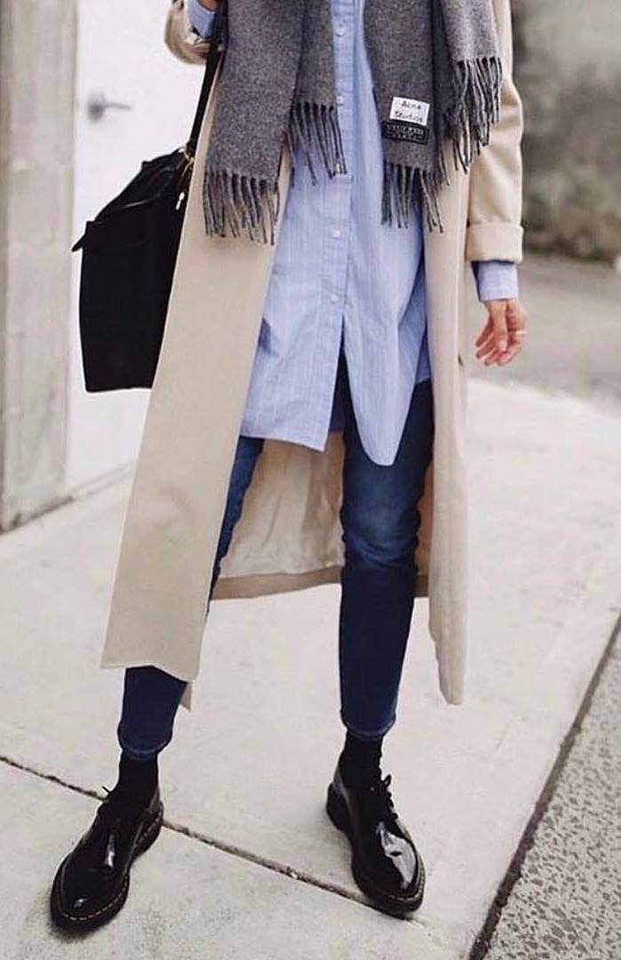 comfy outfit / loafers + jeans + blue shirt + scarf + coat + bag