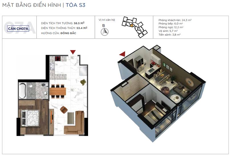 Loại căn hộ 01 phòng ngủ, diện tích 53m2
